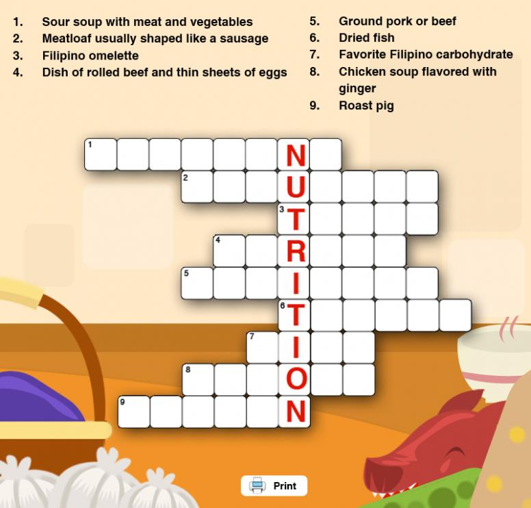 Filipino Food Crossword