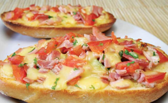 Ham and Mushroom Open-Faced Sandwich